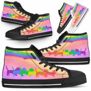 HTS-U-Dog-Rainbow-Basset_Hound-1@ Dog Rainbow Basset Hound 1-Basset Hound Dog Lovers High Top Shoes Gift Men Women Dog Mom Dog Dad. Rainbow Line Custom Shoes.