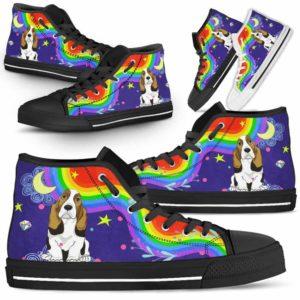 HTS-U-Dog-Rainbow-Basset_Hound-3@ Rainbow Basset Hound 3-Basset Hound Dog Lovers High Top Shoes Gift For Men Women. Rainbow Colorful Custom Shoes.
