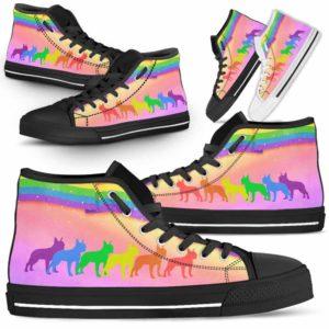 HTS-U-Dog-Rainbow-Boston_Terrier-3@ Dog Rainbow Boston Terrier 3-Boston Terrier Dog Lovers High Top Shoes Gift Men Women Dog Mom Dog Dad. Rainbow Line Custom Shoes.