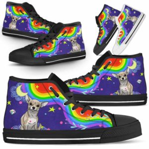 HTS-U-Dog-Rainbow-Chihuahua-15@ Rainbow Chihuahua 15-Chihuahua Dog Lovers High Top Shoes Gift For Men Women. Rainbow Colorful Custom Shoes.