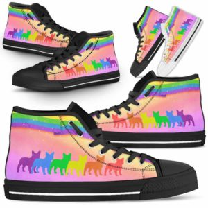 HTS-U-Dog-Rainbow-Frenchie-11@ Dog Rainbow Frenchie 11-Frenchie Dog Lovers High Top Shoes Gift Men Women Dog Mom Dog Dad. Rainbow Line Custom Shoes.