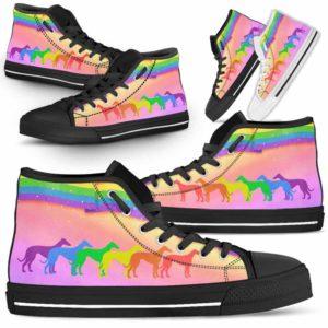 HTS-U-Dog-Rainbow-Greyhound-13@ Dog Rainbow Greyhound 13-Greyhound Dog Lovers High Top Shoes Gift Men Women Dog Mom Dog Dad. Rainbow Line Custom Shoes.