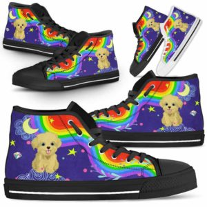 HTS-U-Dog-Rainbow-Havanese-33@ Rainbow Havanese 33-Havanese Dog Lovers High Top Shoes Gift For Men Women. Rainbow Colorful Custom Shoes.