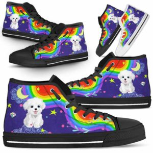 HTS-U-Dog-Rainbow-Havanese-34@ Rainbow Havanese 34-Havanese Dog Lovers High Top Shoes Gift For Men Women. Rainbow Colorful Custom Shoes.