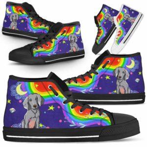 HTS-U-Dog-Rainbow-Weimaraner-61@ Rainbow Weimaraner 61-Weimaraner Dog Lovers High Top Shoes Gift For Men Women. Rainbow Colorful Custom Shoes.