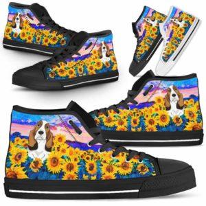 HTS-U-Dog-SunflowerField-Basset_Hound-3@ Sunflower Field Basset Hound 3-Basset Hound Dog Lovers Sunflower Field High Top Shoes Gift Men Women. Dog Mom Dog Dad Custom Shoes.
