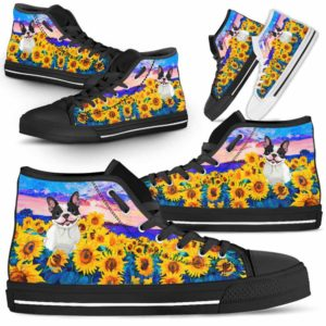 HTS-U-Dog-SunflowerField-Frenchie-24@ Sunflower Field Frenchie 24-Frenchie Dog Lovers Sunflower Field High Top Shoes Gift Men Women. Dog Mom Dog Dad Custom Shoes.