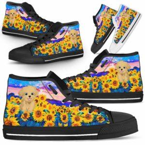 HTS-U-Dog-SunflowerField-Havanese-33@ Sunflower Field Havanese 33-Havanese Dog Lovers Sunflower Field High Top Shoes Gift Men Women. Dog Mom Dog Dad Custom Shoes.
