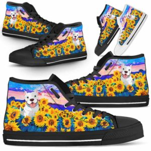 HTS-U-Dog-SunflowerField-Pit_Bull-44@ Sunflower Field Pit Bull 44-Pit Bull Dog Lovers Sunflower Field High Top Shoes Gift Men Women. Dog Mom Dog Dad Custom Shoes.