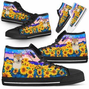 HTS-U-Dog-SunflowerField-Shiba_Inu-60@ Sunflower Field Shiba Inu 60-Shiba Inu Dog Lovers Sunflower Field High Top Shoes Gift Men Women. Dog Mom Dog Dad Custom Shoes.