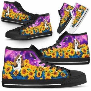 HTS-U-Dog-SunflowerFieldGalaxy-Basset_Hound-3@ Sunflower Field Galaxy Basset Hound 3-Basset Hound Dog Lovers Sunflower Galaxy High Top Shoes Gift Men Women. Dog Mom Dad Custom Shoes.