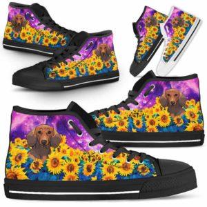HTS-U-Dog-SunflowerFieldGalaxy-Dachshund-20@ Sunflower Field Galaxy Dachshund 20-Dachshund Dog Lovers Sunflower Galaxy High Top Shoes Gift Men Women. Dog Mom Dad Custom Shoes.