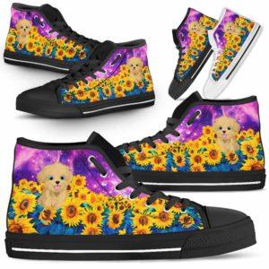 HTS-U-Dog-SunflowerFieldGalaxy-Havanese-33@ Sunflower Field Galaxy Havanese 33-Havanese Dog Lovers Sunflower Galaxy High Top Shoes Gift Men Women. Dog Mom Dad Custom Shoes.