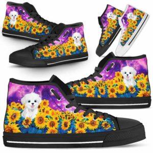 HTS-U-Dog-SunflowerFieldGalaxy-Havanese-34@ Sunflower Field Galaxy Havanese 34-Havanese Dog Lovers Sunflower Galaxy High Top Shoes Gift Men Women. Dog Mom Dad Custom Shoes.