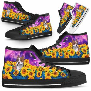 HTS-U-Dog-SunflowerFieldGalaxy-Pit_Bull-42@ Sunflower Field Galaxy Pit Bull 42-Pit Bull Dog Lovers Sunflower Galaxy High Top Shoes Gift Men Women. Dog Mom Dad Custom Shoes.