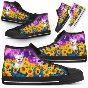 HTS-U-Dog-SunflowerFieldGalaxy-Pit_Bull-44@ Sunflower Field Galaxy Pit Bull 44-Pit Bull Dog Lovers Sunflower Galaxy High Top Shoes Gift Men Women. Dog Mom Dad Custom Shoes.