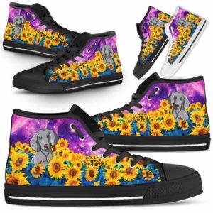 HTS-U-Dog-SunflowerFieldGalaxy-Weimaraner-61@ Sunflower Field Galaxy Weimaraner 61-Weimaraner Dog Lovers Sunflower Galaxy High Top Shoes Gift Men Women. Dog Mom Dad Custom Shoes.