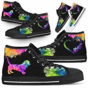 HTS-U-Dog-Watercolor-Basset_Hound-1@ Dog Watercolor Basset Hound 1-Basset Hound Dog Lovers Watercolor High Top Shoes Gift Men Women. Dog Mom Dog Dad Custom Shoes.