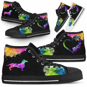 HTS-U-Dog-Watercolor-Dachshund-9@ Dog Watercolor Dachshund 9-Dachshund Dog Lovers Watercolor High Top Shoes Gift Men Women. Dog Mom Dog Dad Custom Shoes.