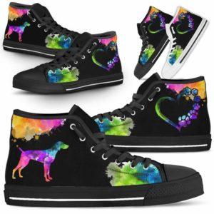 HTS-U-Dog-Watercolor-Weimaraner-23@ Dog Watercolor Weimaraner 23-Weimaraner Dog Lovers Watercolor High Top Shoes Gift Men Women. Dog Mom Dog Dad Custom Shoes.