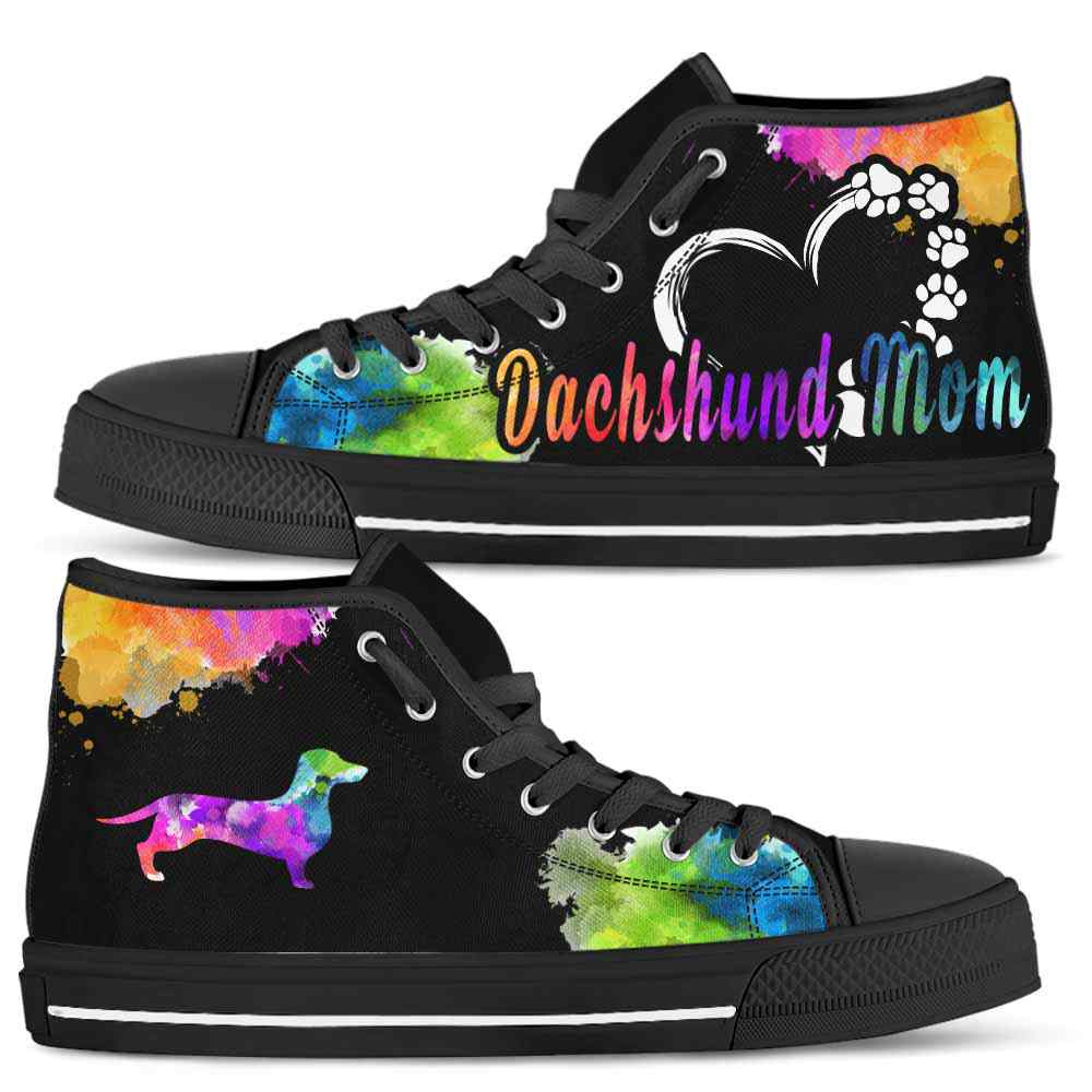 HTS-U-Dog-WatercolorDogMom-Dachshund-9@ Watercolor Dog Mom Dachshund 9-Dachshund Mom Dog Lovers Watercolor High Top Shoes Gift Women. Dog Mom Colorful Custom Shoes.