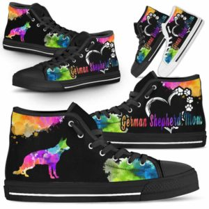 HTS-U-Dog-WatercolorDogMom-German_Shepherd-12@ Watercolor Dog Mom German Shepherd 12-German Shepherd Mom Dog Lovers Watercolor High Top Shoes Gift Women. Dog Mom Colorful Custom Shoes.