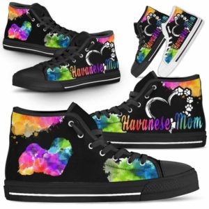 HTS-U-Dog-WatercolorDogMom-Havanese-14@ Watercolor Dog Mom Havanese 14-Havanese Mom Dog Lovers Watercolor High Top Shoes Gift Women. Dog Mom Colorful Custom Shoes.