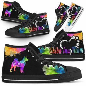 HTS-U-Dog-WatercolorDogMom-Shiba_inu-22@ Watercolor Dog Mom Shiba inu 22-Shiba Inu Mom Dog Lovers Watercolor High Top Shoes Gift Women. Dog Mom Colorful Custom Shoes.