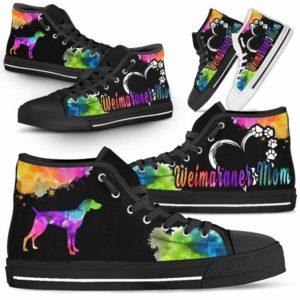 HTS-U-Dog-WatercolorDogMom-Weimaraner-23@ Watercolor Dog Mom Weimaraner 23-Weimaraner Mom Dog Lovers Watercolor High Top Shoes Gift Women. Dog Mom Colorful Custom Shoes.