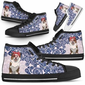 HTS-W-Dog-BluePaisley-Aussie-0@ Blue Paisley Aussie 0-Aussie Dog Lovers Blue Paisley High Top Shoes Gift Men Women. Dog Mom Dog Dad Custom Shoes. Australian Shepherd