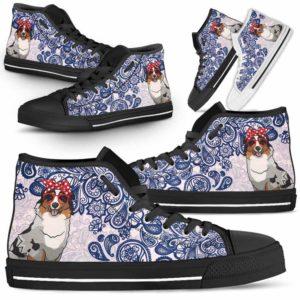 HTS-W-Dog-BluePaisley-Aussie-1@ Blue Paisley Aussie 1-Aussie Dog Lovers Blue Paisley High Top Shoes Gift Men Women. Dog Mom Dog Dad Custom Shoes. Australian Shepherd