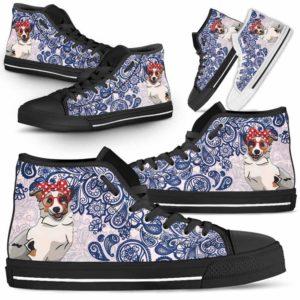 HTS-W-Dog-BluePaisley-Aussie-2@ Blue Paisley Aussie 2-Aussie Dog Lovers Blue Paisley High Top Shoes Gift Men Women. Dog Mom Dog Dad Custom Shoes. Australian Shepherd