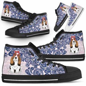HTS-W-Dog-BluePaisley-Basset_Hound-3@ Blue Paisley Basset Hound 3-Basset Hound Dog Lovers Blue Paisley High Top Shoes Gift Men Women. Dog Mom Dog Dad Custom Shoes.