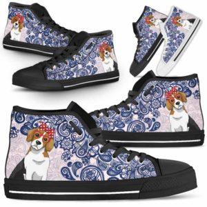 HTS-W-Dog-BluePaisley-Beagle-4@ Blue Paisley Beagle 4-Beagle Dog Lovers Blue Paisley High Top Shoes Gift Men Women. Dog Mom Dog Dad Custom Shoes.
