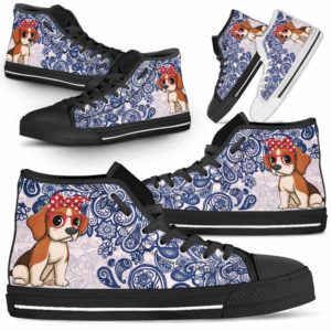 HTS-W-Dog-BluePaisley-Beagle-5@ Blue Paisley Beagle 5-Beagle Dog Lovers Blue Paisley High Top Shoes Gift Men Women. Dog Mom Dog Dad Custom Shoes.