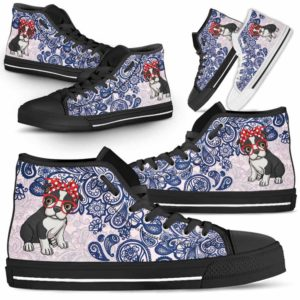 HTS-W-Dog-BluePaisley-Boston_Terrier-6@ Blue Paisley Boston Terrier 6-Boston Terrier Dog Lovers Blue Paisley High Top Shoes Gift Men Women. Dog Mom Dog Dad Custom Shoes.