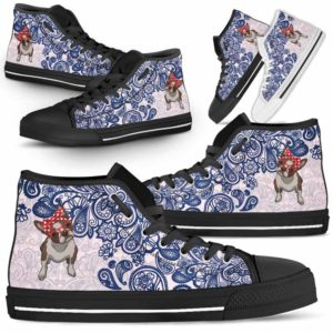 HTS-W-Dog-BluePaisley-Boston_Terrier-7@ Blue Paisley Boston Terrier 7-Boston Terrier Dog Lovers Blue Paisley High Top Shoes Gift Men Women. Dog Mom Dog Dad Custom Shoes.