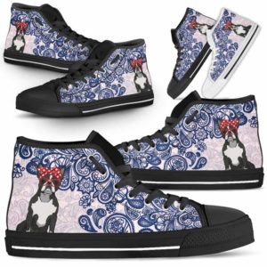 HTS-W-Dog-BluePaisley-Boston_Terrier-8@ Blue Paisley Boston Terrier 8-Boston Terrier Dog Lovers Blue Paisley High Top Shoes Gift Men Women. Dog Mom Dog Dad Custom Shoes.