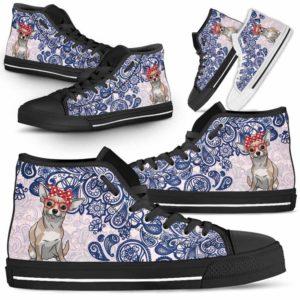 HTS-W-Dog-BluePaisley-Chihuahua-15@ Blue Paisley Chihuahua 15-Chihuahua Dog Lovers Blue Paisley High Top Shoes Gift Men Women. Dog Mom Dog Dad Custom Shoes.