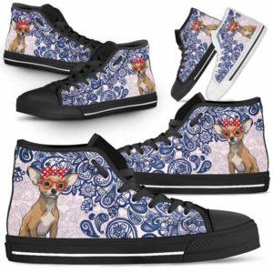 HTS-W-Dog-BluePaisley-Chihuahua-16@ Blue Paisley Chihuahua 16-Chihuahua Dog Lovers Blue Paisley High Top Shoes Gift Men Women. Dog Mom Dog Dad Custom Shoes.