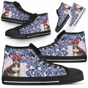 HTS-W-Dog-BluePaisley-Chihuahua-17@ Blue Paisley Chihuahua 17-Chihuahua Dog Lovers Blue Paisley High Top Shoes Gift Men Women. Dog Mom Dog Dad Custom Shoes.