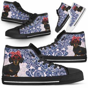 HTS-W-Dog-BluePaisley-Dachshund-19@ Blue Paisley Dachshund 19-Dachshund Dog Lovers Blue Paisley High Top Shoes Gift Men Women. Dog Mom Dog Dad Custom Shoes.