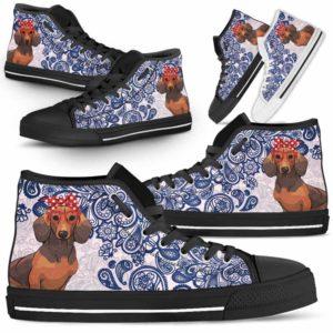 HTS-W-Dog-BluePaisley-Dachshund-20@ Blue Paisley Dachshund 20-Dachshund Dog Lovers Blue Paisley High Top Shoes Gift Men Women. Dog Mom Dog Dad Custom Shoes.