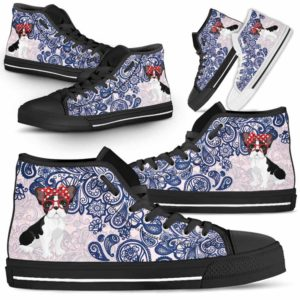HTS-W-Dog-BluePaisley-Frenchie-21@ Blue Paisley Frenchie 21-Frenchie Dog Lovers Blue Paisley High Top Shoes Gift Men Women. Dog Mom Dog Dad Custom Shoes.