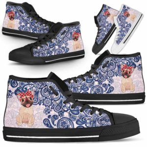 HTS-W-Dog-BluePaisley-Frenchie-25@ Blue Paisley Frenchie 25-Frenchie Dog Lovers Blue Paisley High Top Shoes Gift Men Women. Dog Mom Dog Dad Custom Shoes.