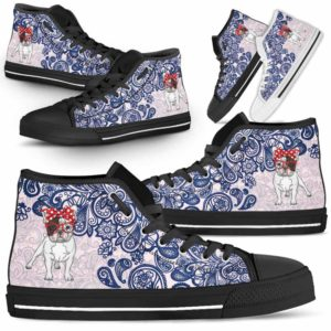 HTS-W-Dog-BluePaisley-Frenchie-28@ Blue Paisley Frenchie 28-Frenchie Dog Lovers Blue Paisley High Top Shoes Gift Men Women. Dog Mom Dog Dad Custom Shoes.