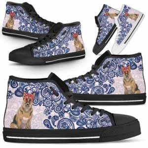 HTS-W-Dog-BluePaisley-German_Shepherd-29@ Blue Paisley German Shepherd 29-German Shepherd Dog Lovers Blue Paisley High Top Shoes Gift Men Women. Dog Mom Dog Dad Custom Shoes.