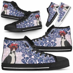 HTS-W-Dog-BluePaisley-Greyhound-32@ Blue Paisley Greyhound 32-Greyhound Dog Lovers Blue Paisley High Top Shoes Gift Men Women. Dog Mom Dog Dad Custom Shoes.