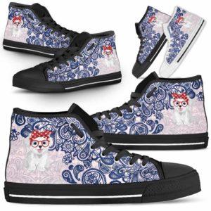 HTS-W-Dog-BluePaisley-Havanese-34@ Blue Paisley Havanese 34-Havanese Dog Lovers Blue Paisley High Top Shoes Gift Men Women. Dog Mom Dog Dad Custom Shoes.