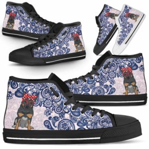 HTS-W-Dog-BluePaisley-Heeler-35@ Blue Paisley Heeler 35-Heeler Dog Lovers Blue Paisley High Top Shoes Gift Men Women. Dog Mom Dog Dad Custom Shoes. Australian Cattle